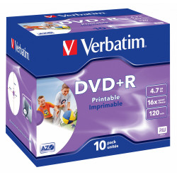 Dvd+r verbatim azo 4,7 gb 16x 120 min superficie wide ink-jet printable, jewel case.