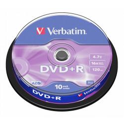 Dvd+r verbatim azo 4,7 gb 16x 120 min superficie matt silver, 10 pack spindle.
