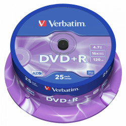 Dvd+r verbatim 4,7gb 16x 120min Advanced AZO spindle pack-25 uds.