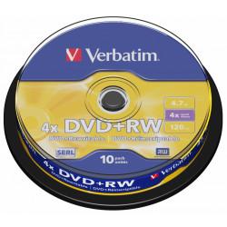 Dvd+rw verbatim serl 4,7 gb 4x 120 min superficie matt silver, 10 pack spindle.