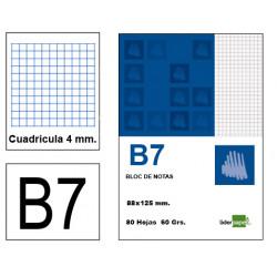 Bloc de notas, lomo encolado, perforado, con tapa liderpapel en formato din b-7, 80 hj. 60 grs. 4x4 s/m.