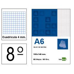 Bloc de notas, lomo encolado, perforado, con tapa liderpapel en formato din A-6, 80 hj. 60 grs. 4x4 s/m.