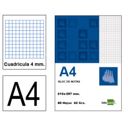 Bloc de notas, lomo encolado, perforado, con tapa liderpapel en formato A-4, 80 hj. 60 grs. 4x4 s/m.