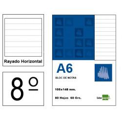 Bloc de notas, lomo encolado, perforado, con tapa liderpapel en formato din 8º, 80 hj. 60 grs. rayado horizontal s/m.