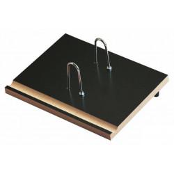 Soporte para calendario de sobremesa faibo con 2 anillas metálicas en madera de color negro.