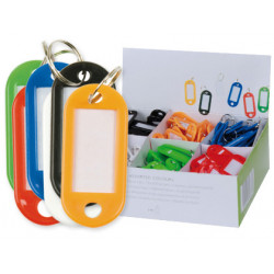 Llavero portaetiqueta q-connect en colores surtidos, caja de 100 uds.