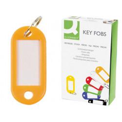 Llavero portaetiqueta q-connect en color amarillo, caja de 100 uds.