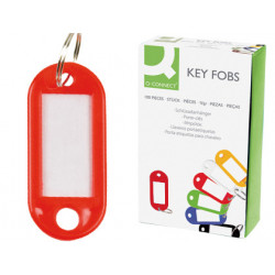 Llavero portaetiqueta q-connect en color rojo, caja de 100 uds.