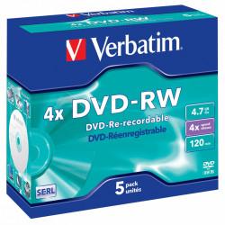 Dvd-rw verbatim serl 4,7 gb 4x 120 min superficie matt silver, jewel case.