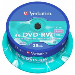 Dvd-rw verbatim serl 4,7 gb 4x 120 min superficie matt silver, 25 pack spindle.