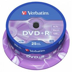 Dvd+r verbatim azo 4,7 gb 16x 120 min superficie matt silver, 25 pack spindle.