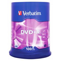 Dvd+r verbatim azo 4,7 gb 16x 120 min superficie matt silver, 100 pack spindle