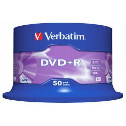 Dvd+r verbatim azo 4,7 gb 16x 120 min superficie matt silver, 50 pack spindle