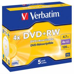 Dvd+rw verbatim serl 4,7 gb 4x 120 min superficie matt silver, jewel case.