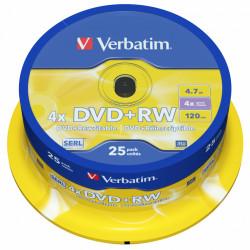 Dvd+rw verbatim serl 4,7 gb 4x 120 min superficie matt silver, 25 pack spindle.
