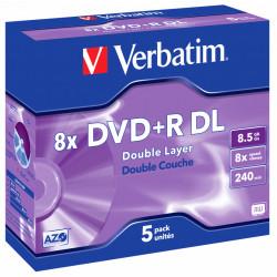 Dvd+r dl verbatim azo 8.5 gb 8x 240 min superficie matt silver, jewel case.