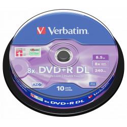 Dvd+r dl verbatim azo 8.5 gb 8x 240 min superficie matt silver, 10 pack spindle.
