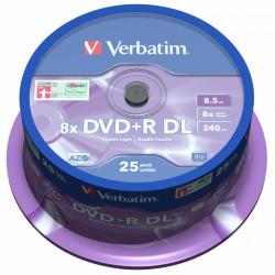 Dvd+r dl verbatim azo 8.5 gb 8x 240 min superficie matt silver, 25 pack spindle.