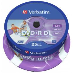 Dvd+r dl verbatim azo 8.5 gb 8x 240 min superficie wide ink-jet printable, 25 pack spindle.
