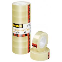 Cinta adhesiva transparente 3m scotch 550 de 19 mm. x 33 mts. pack de 8 uds.