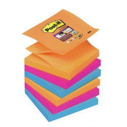 Bloc de notas adhesivas 3m post-it super sticky z-notes 76x76 mm. color bangkok, pack de 6 blocs.