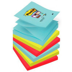 Bloc de notas adhesivas 3m post-it super sticky z-notes 76x76 mm. color miami, pack de 6 blocs.