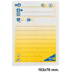 Bloc de notas adhesivas 3m post-it preimpresas 102x76 mm. mensaje telefónico.