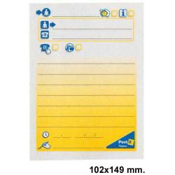 Bloc de notas adhesivas 3m post-it preimpresas 102x149 mm. mensaje telefónico.