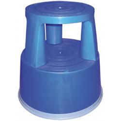 Taburete q-connect altamente resistente y firme, tres ruedas de goma retráctiles, dos niveles, azul.