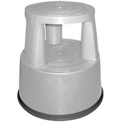 Taburete q-connect altamente resistente y firme, tres ruedas de goma retráctiles, dos niveles, gris.