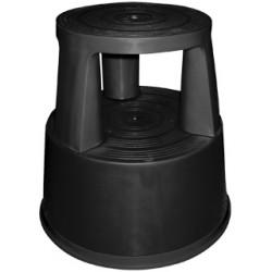 Taburete q-connect altamente resistente y firme, tres ruedas de goma retráctiles, dos niveles, negro.
