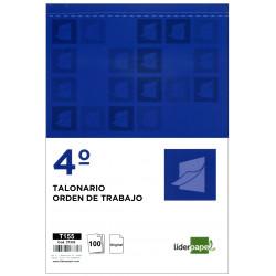 Talonario orden de trabajo original liderpapel en formato 4º natural de 144x210 mm.