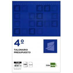 Talonario presupuesto original liderpapel en formato 4º natural de 144x210 mm.