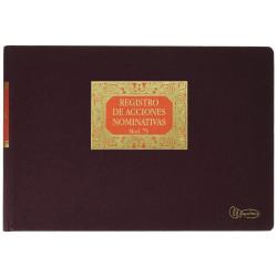 Libro de contabilidad miquelrius registro de acciones nominativas en formato folio apaisado, 100 hj. 102 grs.