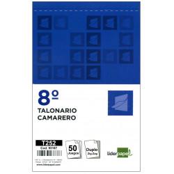 Talonario camarero zig-zag original y copia liderpapel en formato 8º natural de 105x155 mm.