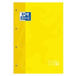 Recambio de anillas encolado con 4 taladros oxford en formato din a-4, 80 hj. 90 grs. 5x5, s/m. color de banda amarillo.
