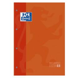 Recambio de anillas encolado con 4 taladros oxford en formato din a-4, 80 hj. 90 grs. 5x5, s/m. color de banda naranja.