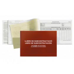 Libro de subcontratación en castellano / catalán miquelrius en formato din a-4 apaisado.