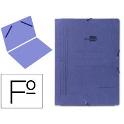 Carpeta de gomas sencilla en cartón pintado de 540 grs. liderpapel en formato folio, color azul.
