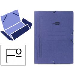 Carpeta de gomas con 3 solapas en cartón pintado de 540 grs. liderpapel en formato folio, color azul.