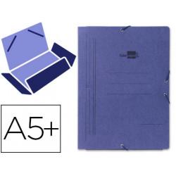 Carpeta de gomas con 3 solapas en cartón pintado de 540 grs. liderpapel en formato 4º, color azul.