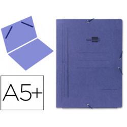 Carpeta de gomas sencilla en cartón pintado de 540 grs. liderpapel en formato 4º, color azul.