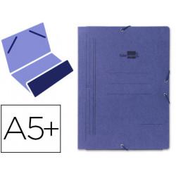 Carpeta de gomas bolsa en cartón pintado de 540 grs. liderpapel en formato 4º, color azul.