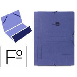 Carpeta de gomas bolsa en cartón pintado de 540 grs. liderpapel en formato folio, color azul.