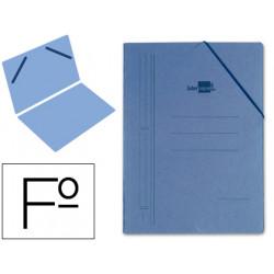Carpeta de gomas sencilla en cartón compacto de 740 grs. liderpapel en formato folio, color azul.