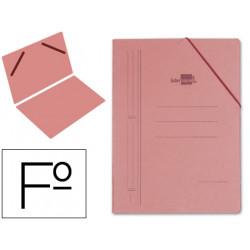 Carpeta de gomas sencilla en cartón compacto de 740 grs. liderpapel en formato folio, color cuero.