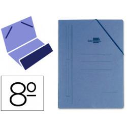 Carpeta de gomas bolsa en cartón compacto de 740 grs. liderpapel en formato 8º, color azul.