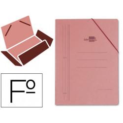 Carpeta de gomas con 3 solapas en cartón compacto de 740 grs. liderpapel en formato folio, color cuero.