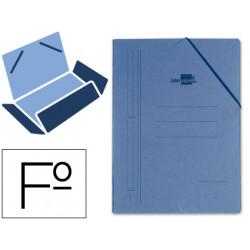 Carpeta de gomas con 3 solapas en cartón compacto de 740 grs. liderpapel en formato folio, color azul.
