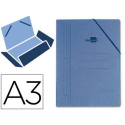 Carpeta de gomas con 3 solapas en cartón compacto de 740 grs. liderpapel en formato din a-3, color azul.